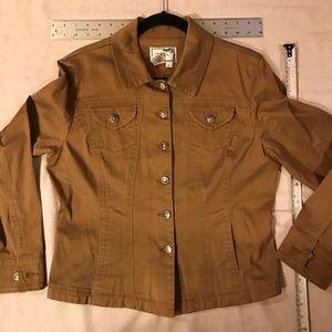 Jacket, Western Cut, Brown Poplin, Slight Stretch